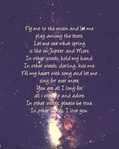 Fly me to the moon--our song--love that our son knows the words :)