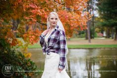 Fall wedding with bride in flannel