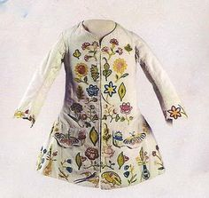 Little boys Waistcoat, c. 1720, linen with silk-embroidered appliques