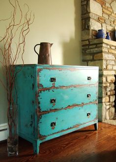 Antiqued Teal Green Chest of Drawers by Artisan8 on Etsy. $795.00 USD, via Etsy.