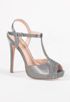 High Heel Satin Sandal with Rhinestone Vamp from Camille La Vie