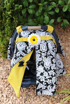 Items similar to JENROSTANCH - custom listing-NEW -Carseat Canopy- with zip opening- Black Damask and yellow/black polka dots on Etsy. , via Etsy.