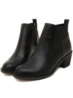 Black Brush Round Toe Boots