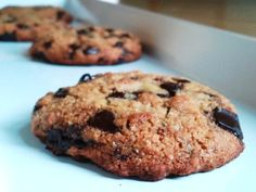 Gluten-free, egg-free choc. chip cookies.  I'll try to make it dairy-free too.  Uses almond and coconut flour, and honey to sweeten, sounds like a hit to me!