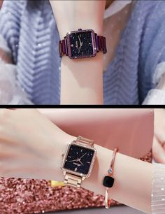 Fashion Women Romantic Starry Sky Austrian Rhinestones Square Leather Belt Watch 9