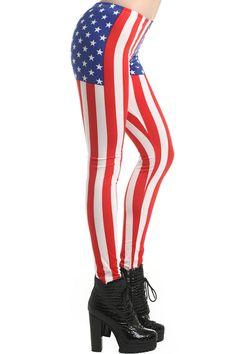 U.S. Flag Leggings #Romwe