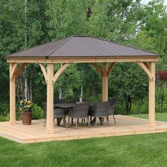 The pergola kits are the easiest and quickest way to build a garden pergola. There are lots of do it yourself pergola kits available to you so that anyone could easily put them together to construct a new structure at their backyard. Backyard Gazebo, Garden Gazebo, Pergola Patio, Pergola Plans, Diy Patio, Backyard Landscaping, Cheap Pergola, Outdoor Gazebos, Landscaping Ideas