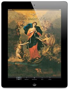 """Novena to Mary, Undoer of Knots. Since 1700, this painting by Johann Schmittdner has been venerated in the Church of St. Peter in Perlack, Augsburg, Germany. This title of Our Lady was inspired by a meditation of St. Irenaeus (Bishop of Lyon, martyred in 202) who made a comparison between Eve and Mary, saying: """"Eve, by her disobedience, tied the knot of disgrace for all mankind; whereas Mary, by her obedience, undid it."""""""