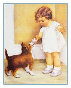 Artist Bessie Pease Gutmanns Picture of a young girl rewarding her puppy with a lick of her ice cream cone. *Bessie Pease Gutmann (1876–1960) was an American artist and illustrator most noted for her paintings of infants and young children.