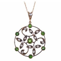 American Art Nouveau Demantoid Garnet Diamond Pearl Gold Pendant | From a unique collection of vintage drop necklaces at http://www.1stdibs.com/jewelry/necklaces/drop-necklaces/