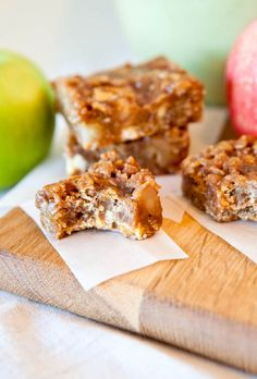 Caramel Apple Bars with Caramel Sauce, Peanut Butter, & White Chocolate Chips.  One pan & Easy to make.