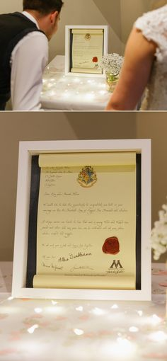 Hogwarts letter of Congratulations to Alex and Hannah on their Wedding Day Desigbed and created by Steve Walch