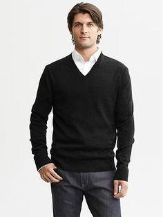 Extra-fine merino wool v-neck sweater   Banana Republic
