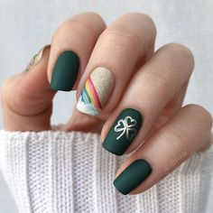 Patrick's Day Nails Just For You Matte Green Nails, Matte Nail Art, New Nail Art, Acrylic Nails, St Patricks Day Nails, French Tip Nails, Holiday Looks, Stamping Plates, Nail Trends