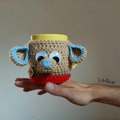 Crochet wrap mug.. Dog blue