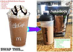 Mocha Shake: 1 c cold coffee, 1 c ice, 1 scoop chocolate shakeology …