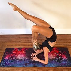 Galaxy Mat available on yogazeal.com. Yoga mat and towel combined. Non-slip suede-like top cover to prevent slipping.