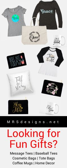 Looking for Fun Faith based gifts? Check this shop out! Message Tees | Baseball Shirts | Cosmetic Bags | Tote Bags | Christmas Gifts | Gifts for her | Gifts for him | Gifts for teens | Coffee Mugs | Coffee Lovers | Farmhouse Home Decor | MRSdesigns.net