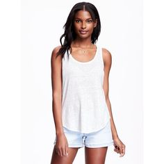 Old Navy Womens Relaxed Curve Hem Linen Tank ($14) ❤ liked on Polyvore featuring tops, petite, white, old navy tank tops, jersey tank top, white singlet, scoop neck tank and petite tops