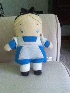 "Disney Alice In Wonderland Alice Doll Toy Tan Blue Soft Plush Stuffed 11"". #SeeDescription"