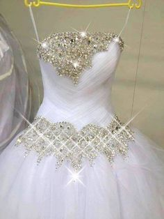 Gorgeous A-line Strapless Tulle Crystals Floor-length Wedding Dresses