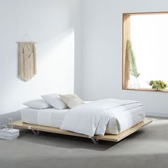 The Floyd Platform Bed - Natural Birch | Platform Beds #decor #homedecor #bedroom #furniture #platformbeds #mattressnut Platform Bed With Storage, Platform Bed Frame, White Platform Bed, Wooden Platform Bed, Floyd Bed, Reclaimed Wood Beds, Bedding Inspiration, Bed Linen Design, Chair Design