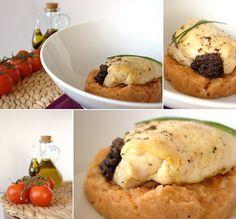 Migas de tomate com peitos de frango recheados com morcela e maçã