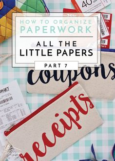 Get ideas for organizing all the little papers in life such as receipts, coupons, manuals, holiday and birthday carts, and more! Organizing Paperwork, Home Office Organization, Paper Organization, Organizing Your Home, Receipt Organization, Organization Ideas, Organizing Tips, Organizing Labels, Organization Station