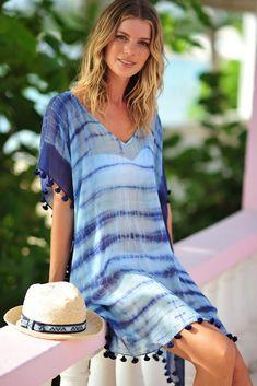 Tie-dye blue kaftan The post Seafolly & Designer Brand Bikinis, Swimsuits, Tankinis, Beachwear appeared first on Bikini Photos. Casual Dress Outfits, Casual Summer Dresses, Modest Dresses, Short Outfits, Casual Dresses For Women, Beach Outfits, Casual Wear, Beach Kaftan, Tie Dye Fashion
