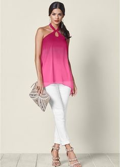 A pink, keyhole top falls to a shark bite hem as the gradient gradually gets lighter. Halter top is lined and has a chiffon overlay that drapes at both sides. Summer Wear, Spring Summer Fashion, Spring Style, Sexy Outfits, Dress Outfits, Work Outfits, White Jeans Outfit, Casual Chic Style, Her Style