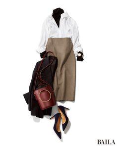 冬の白シャツ×タイトスカートコーデは、インにタートルを合わせたり、スカートを旬なチェック柄にして今年らしく。すっきりしたレイヤードスタイルなので、はおりにジャケットを着てもすっきり美スタイルに。ボルドーバッグでさりげなく華やかエッセンスを足せば、きれいめスタイルに女らしさが加わっ・・・
