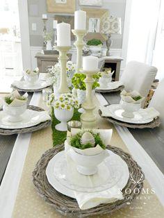 Farmhouse Style Easter Decor Ideas. Beautiful neutral Easter table setting.