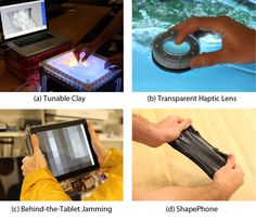 Jamming User Interfaces: Jamming is a scalable technique for programmatic stiffness control, which can be applied to a variety of malleable and organic user interfaces. Examples include: Tunable stiffness for malleable interfaces on tabletops (a, c), for haptic feedback (b, c), and for mobile shape-changing interfaces (d).