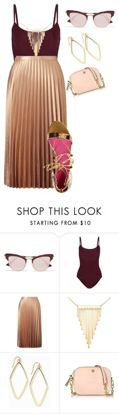 """""""Plus size spring/summer vacay chic"""" by xtrak ❤ liked on Polyvore featuring Le Specs, Ballet Beautiful, Miss Selfridge, Simone I. Smith, Old Navy, Tory Burch and Oscar Tiye"""