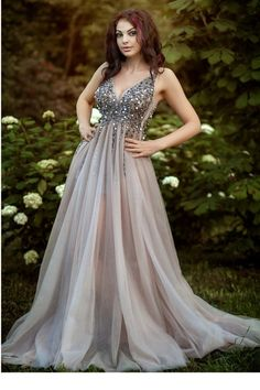 9bd01d2a82c Elegant Sexy See Through High Split V Neck Sparkly Prom Dress.  vanitypotionboutique · Prom Dress. Vanity Potion boutique