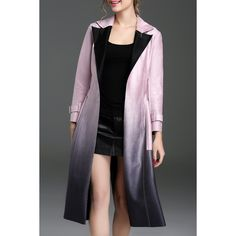 Ombre Suede Trench Coat ($81) ❤ liked on Polyvore featuring outerwear, coats, suede coat, suede leather coat, trench coat, ombre coat and suede trench coats