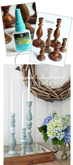 Coastal-inspired candlesticks from Confessions of a Serial Do-it-Yourselfer and DAP® Rapid Fuse All Purpose Adhesive. Thrift store throw-aways never looked so good! Cheap Furniture Makeover, Diy Furniture Easy, Furniture Ideas, Furniture Websites, Recycled Furniture, Furniture Stores, Pallet Furniture, Furniture Design, Upcycled Crafts