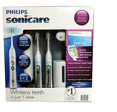 Philips Sonicare Flexcare Rechargeable Sonic Toothbrush Premium Edition 2 pack bundle (2 Flexcare Handles, 2 Diamond Clean Standard Brush Heads, 1 Compact Travel Charger, 2 Hygienic Travel Caps, 2 Hard Travel Cases, 1 UV Sanitizer) Philips http://smile.amazon.com/dp/B00FZ2NGRC/ref=cm_sw_r_pi_dp_bi6Cwb0FZQT1A