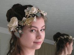 Boho Bridal Wreath Floral wreath Headpiece Fairy Vintage Pearls, Vintage Flowers, Hippie Bride, Antique Wax, Wax Flowers, Bridal Headpieces, Floral Wreath, Fairy, Wreaths