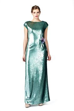 Front side of the PLAKINGER Debut Collection turquoise sequined gown.  byplakinger.com