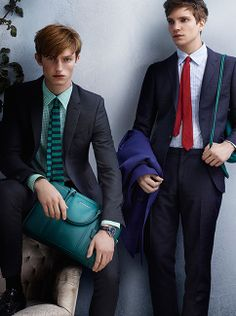 Suits & Ties - a young British cast in the Burberry S/S14 campaign wearing London tailoring with bright accessories
