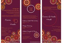 Wedding Card Design:Custom Layout Awesome Hindu Wedding Invitation Cards Design Rectangle Potrait Purple Paper White Letters Rounded Floral Vector Decoration Awesome Hindu Wedding Invitation Cards Design