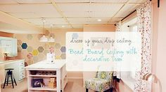DIY Drop Ceiling Makeover: Got an ugly drop ceiling you're dying to get rid of? Here's how you can use inexpensive beadboard panels to create the look of a planked ceiling, giving you a trendy cottage chic look: http://livewelln.co/1rEzRUh