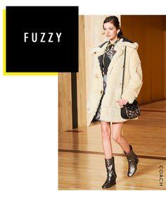 Fuzzy coat outerwear trend.