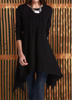 Crinkle Chest Black Long Sleeve Irregular Hem Swing Tunic Top