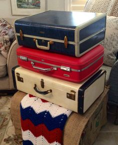 Red, white & blue luggage by DSS Designs