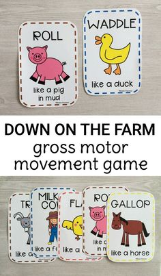 Down on the Farm: a great gross motor game for preschoolers and toddlers! Perfect activity for a farm unit this spring!