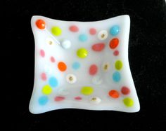 Small Fused glass dish  rainbow dots Fused by threefatesfiber