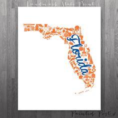 Gainesville, Florida Landmark State Giclée Print - 8x10 - Blue and Orange University Print