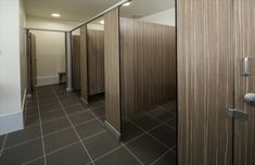 Timber Look Tall Partition Doors with dark brown fixed panels Commercial Design, Public Bathrooms, Commercial Bathroom Ideas, Cubicle Design, Commercial Interiors, Restroom Design, Commercial Bathroom Designs, Interior Design Toilet, Bathroom Design